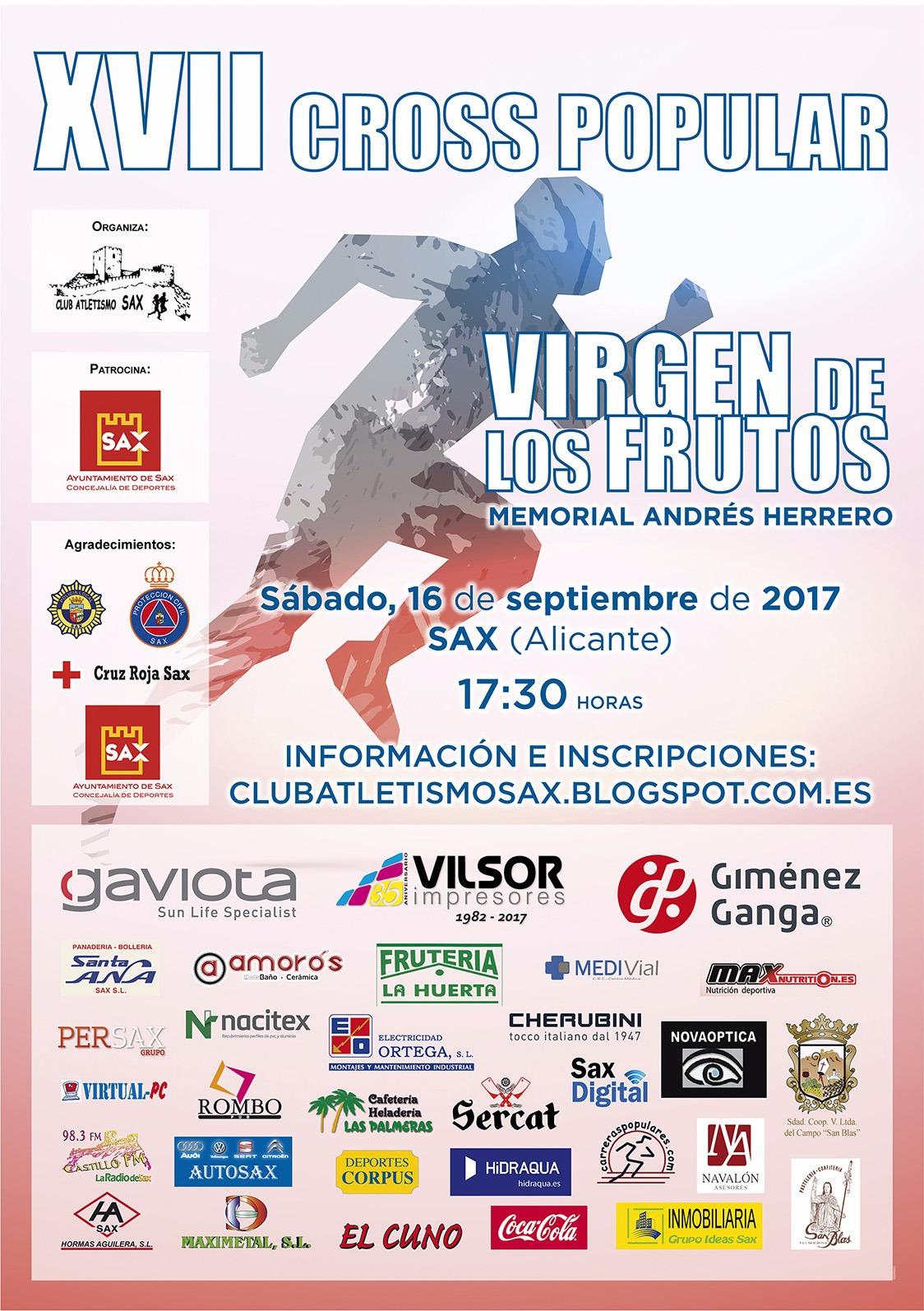 YA HAY CERCA DE 400 INSCRITOS PARA EL XVII CROSS VIRGEN DE LOS FRUTOS DE SAX